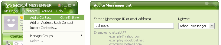 steps in adding behnevis to yahoo chat